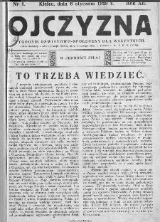 Ojczyzna : tygodnik oświatowo-społeczny dla wszystkich, 1929, nr 1