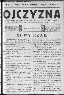 Ojczyzna : tygodnik oświatowo-społeczny dla wszystkich, 1929, nr 16