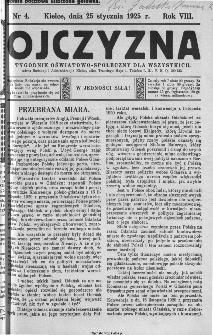 Ojczyzna : tygodnik oświatowo-społeczny dla wszystkich, 1925, nr 4
