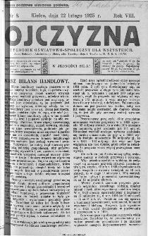 Ojczyzna : tygodnik oświatowo-społeczny dla wszystkich, 1925, nr 8
