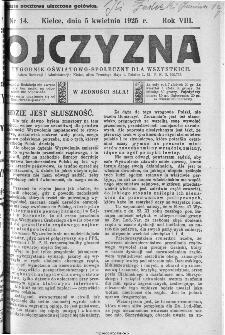 Ojczyzna : tygodnik oświatowo-społeczny dla wszystkich, 1925, nr 14