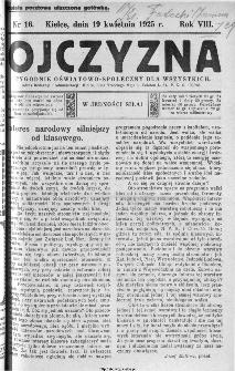 Ojczyzna : tygodnik oświatowo-społeczny dla wszystkich, 1925, nr 16