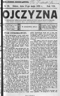Ojczyzna : tygodnik oświatowo-społeczny dla wszystkich, 1925, nr 20