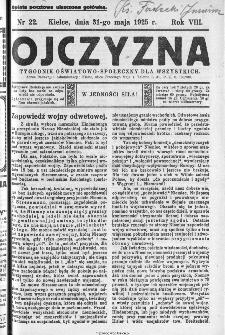 Ojczyzna : tygodnik oświatowo-społeczny dla wszystkich, 1925, nr 22