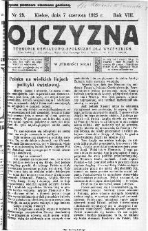 Ojczyzna : tygodnik oświatowo-społeczny dla wszystkich, 1925, nr 23