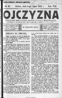 Ojczyzna : tygodnik oświatowo-społeczny dla wszystkich, 1925, nr 27