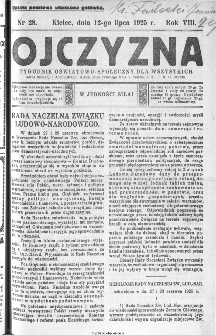 Ojczyzna : tygodnik oświatowo-społeczny dla wszystkich, 1925, nr 28