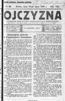 Ojczyzna : tygodnik oświatowo-społeczny dla wszystkich, 1925, nr 29