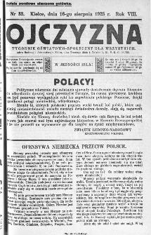 Ojczyzna : tygodnik oświatowo-społeczny dla wszystkich, 1925, nr 33