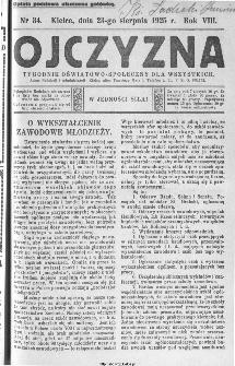 Ojczyzna : tygodnik oświatowo-społeczny dla wszystkich, 1925, nr 34