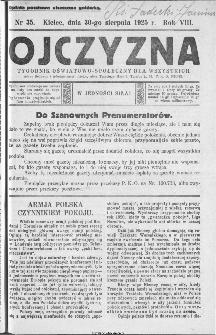 Ojczyzna : tygodnik oświatowo-społeczny dla wszystkich, 1925, nr 35