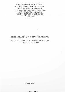 Ekslibrisy Dawida Bekkera. Wystawa z kolekcji Barbary Katarzyny i Czesława Erberów.