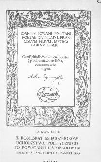 Z konfiskat księgozbiorów uchodźstwa politycznego po powstaniu listopadowym : biblioteka Jana Olrycha Szanieckiego