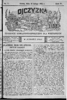 Ojczyzna : tygodnik oświatowo-społeczny dla wszystkich, 1921, nr 7