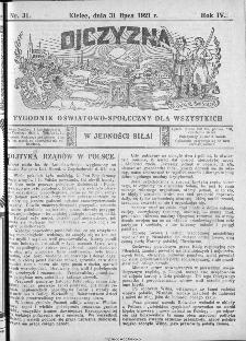 Ojczyzna : tygodnik oświatowo-społeczny dla wszystkich, 1921, nr 31