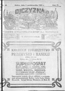 Ojczyzna : tygodnik oświatowo-społeczny dla wszystkich, 1921, nr 40