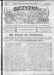 Ojczyzna : tygodnik oświatowo-społeczny dla wszystkich, 1921, nr 43