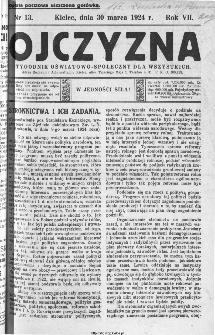 Ojczyzna : tygodnik oświatowo-społeczny dla wszystkich, 1924, nr 13