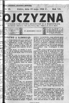 Ojczyzna : tygodnik oświatowo-społeczny dla wszystkich, 1924, nr 20