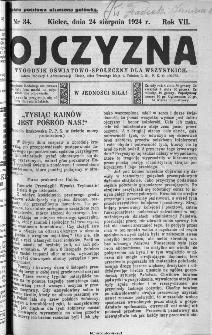 Ojczyzna : tygodnik oświatowo-społeczny dla wszystkich, 1924, nr 34