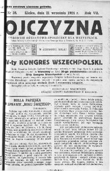 Ojczyzna : tygodnik oświatowo-społeczny dla wszystkich, 1924, nr 38