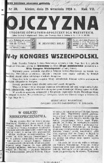 Ojczyzna : tygodnik oświatowo-społeczny dla wszystkich, 1924, nr 39