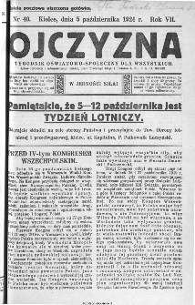 Ojczyzna : tygodnik oświatowo-społeczny dla wszystkich, 1924, nr 40