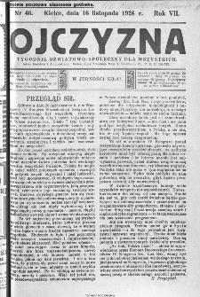 Ojczyzna : tygodnik oświatowo-społeczny dla wszystkich, 1924, nr 46