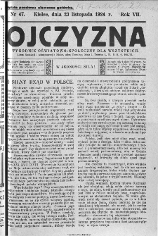 Ojczyzna : tygodnik oświatowo-społeczny dla wszystkich, 1924, nr 47