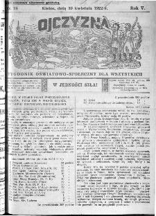 Ojczyzna : tygodnik oświatowo-społeczny dla wszystkich, 1922, nr 18