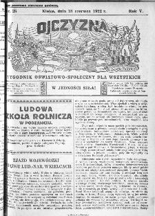 Ojczyzna : tygodnik oświatowo-społeczny dla wszystkich, 1922, nr 25