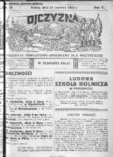 Ojczyzna : tygodnik oświatowo-społeczny dla wszystkich, 1922, nr 26