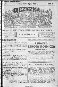 Ojczyzna : tygodnik oświatowo-społeczny dla wszystkich, 1922, nr 27