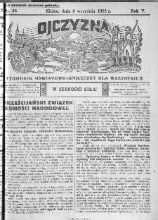 Ojczyzna : tygodnik oświatowo-społeczny dla wszystkich, 1922, nr 36