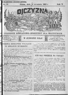 Ojczyzna : tygodnik oświatowo-społeczny dla wszystkich, 1922, nr 37