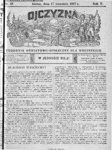 Ojczyzna : tygodnik oświatowo-społeczny dla wszystkich, 1922, nr 38