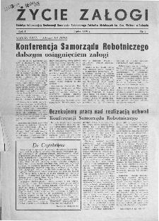 Życie Załogi : organ Samorządu Robotniczego Zakładów Metalowych im. Gen. Waltera w Radomiu, 1958, nr 1