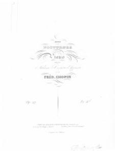 Deux nocturnes : op. 27 : pour le piano