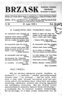 Brzask. Radomski Tygodnik Obrazkowy 1918, R.3, nr 20