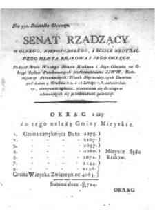 Dziennik Rządowy Wolnego Miasta Krakowa i jego okręgu 1816