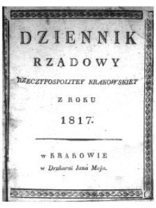 Dziennik Rządowy Wolnego Miasta Krakowa i jego okręgu 1817