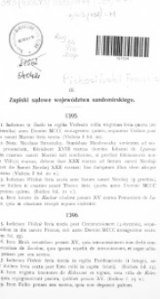Zapiski sądowe województwa sandomierskiego z lat 1395-1444. Terminy sądów ziemskich wojwództwa sandomierskiego z lat 1395-1420.