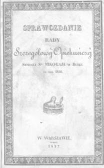 Sprawozdanie Rady Szczegółowej Opiekuńczej Szpitala św. Mikołaja w Busku za rok 1836